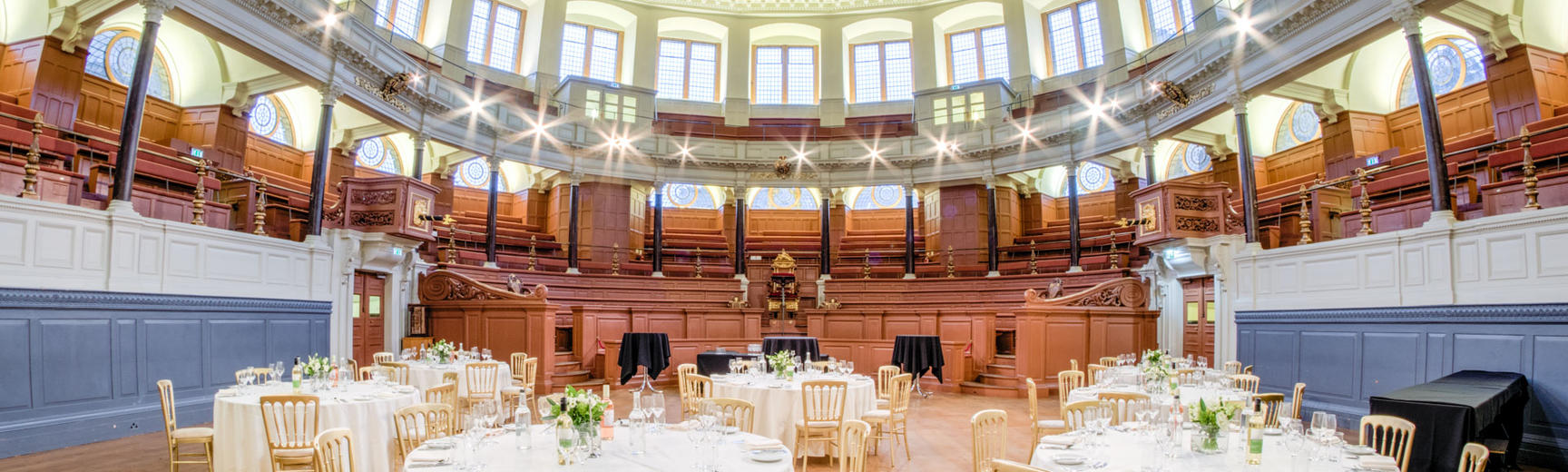 Image of Sheldonian Theatre set up as a wedding venue