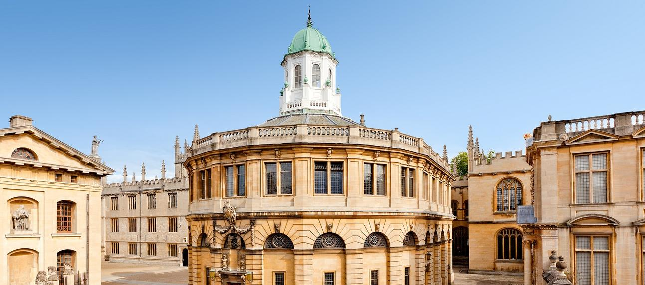 External photo of Sheldonian Theatre on a bright, sunny day