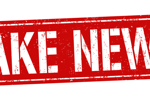 Red logo with the words FAKE NEWS