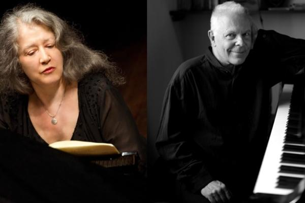 Individual photos of Martha Argerich and Steven Kovacevich as collage