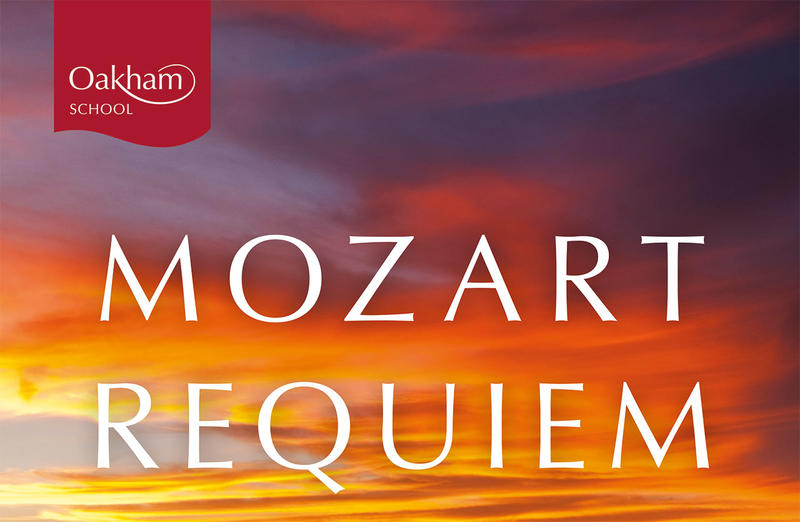 Image of a red sky overlaid with the words 'Mozart Requiem' and the Oakham School logo