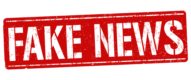 Red logo with the words 'FAKE NEWS' written in white