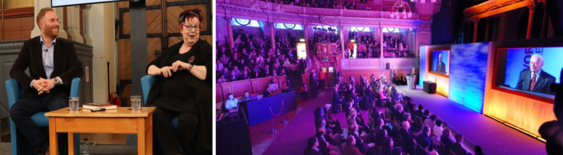 A collage of two photos of events at the Sheldonian: Jo Brand and Matt Stadlen sitting on the stage during a live interview; an audience watching a video live stream