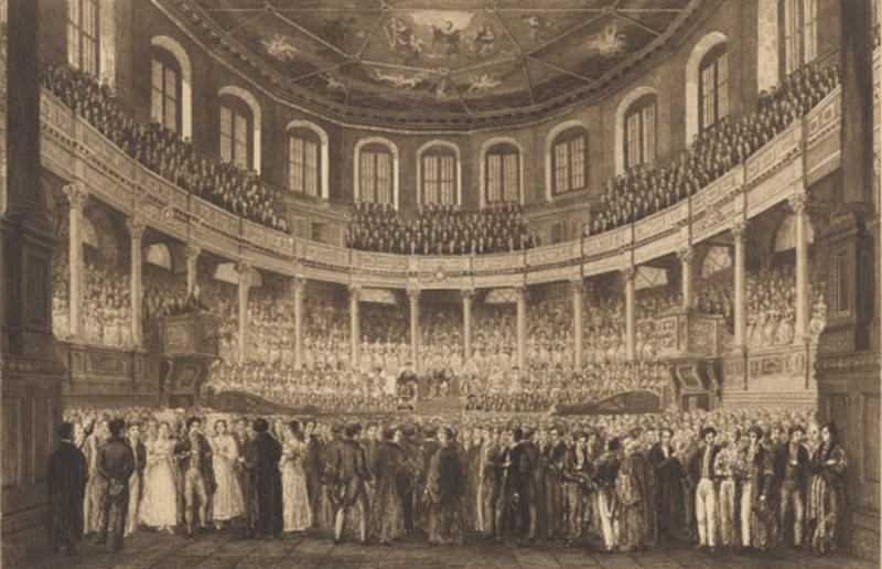 Historical engraving of Sheldonian Theatre