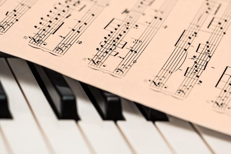 Image of sheet music on top of a piano keyboard