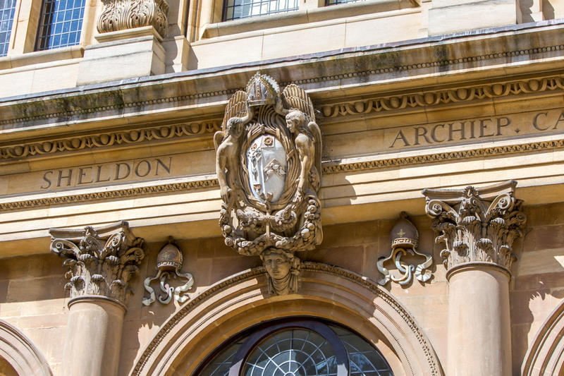 Photo of external detailing above a window of the Sheldonian Theatre