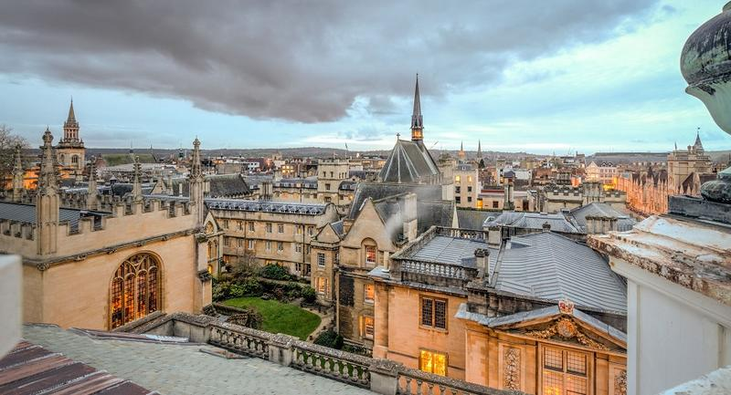 Photo of a stormy skies over the Oxford skyline, taken from the Sheldonian